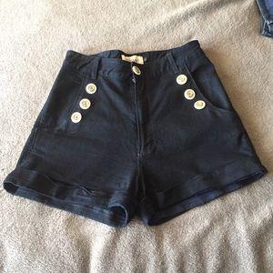 Rockabilly high waisted sailor shorts